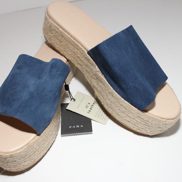 b4e0fba8e4c5 Zara Leather Platform Espadrille Slide Sandal